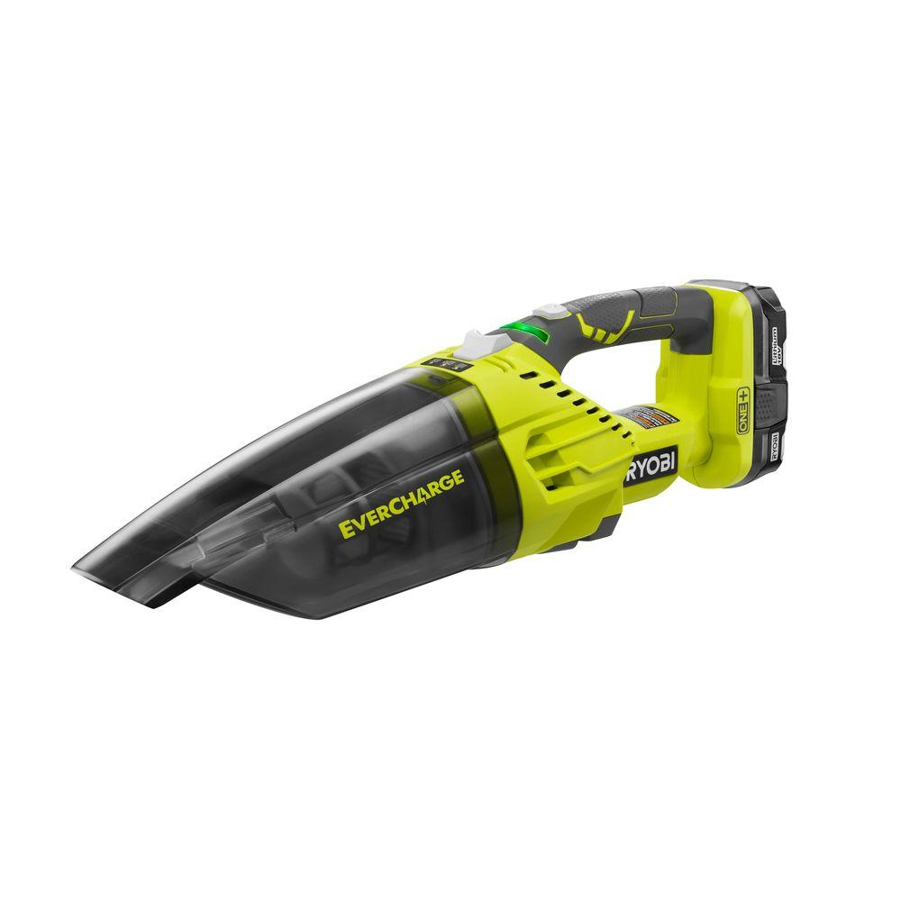 RYOBI 18-Volt ONE+ Lithium-Ion Cordless EVERCHARGE Hand Vacuum Kit with 1.3 Ah Compact Battery and Wall Adaptor/Charger