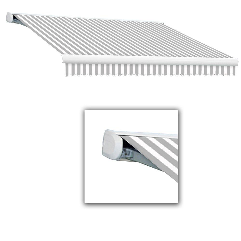 AWNTECH 14 ft. Key West Full-Cassette Right Motor Retractable Awning with Remote (120 in. Projection) in Gray/White