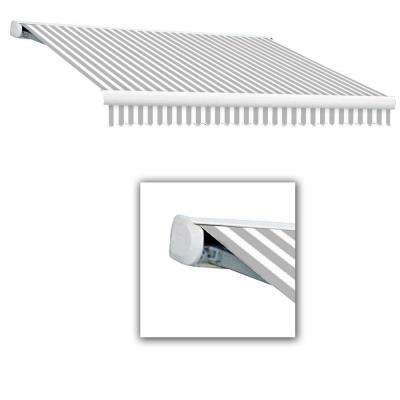 12 ft. Key West Full Cassette Right Motor Retractable Awning (120 in. Projection) in Gray/White