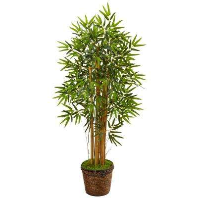 Indoor Bamboo Artificial Tree in Coiled Rope Planter
