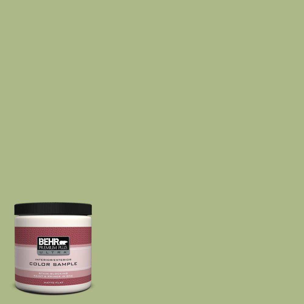 BEHR Premium Plus Ultra 8 oz. #PPU10-7 Lima Green Flat Interior/Exterior Paint and Primer in One Sample