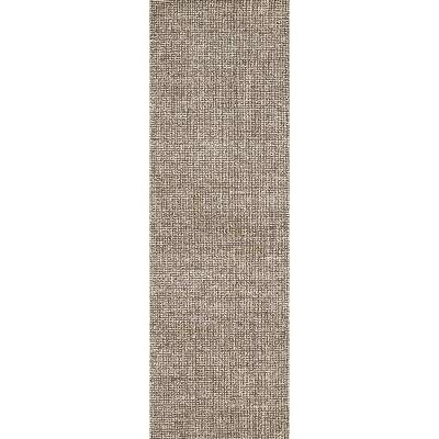 """London Collection Brown 100% Wool 2'6"""" x 8' Hand-Tufted Solid Area Rug"""