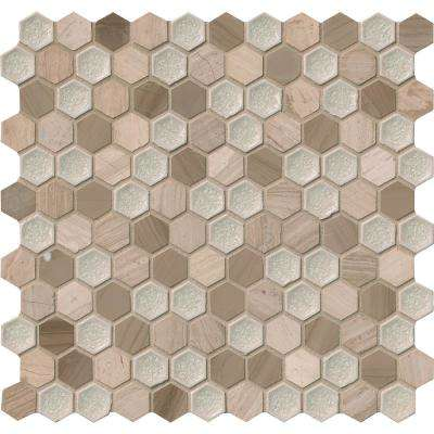 Hexham Blend Hexagon 12 in. x 12 in. x 8 mm Glass and Stone Mesh-Mounted Mosaic Tile (10 sq. ft. / case)