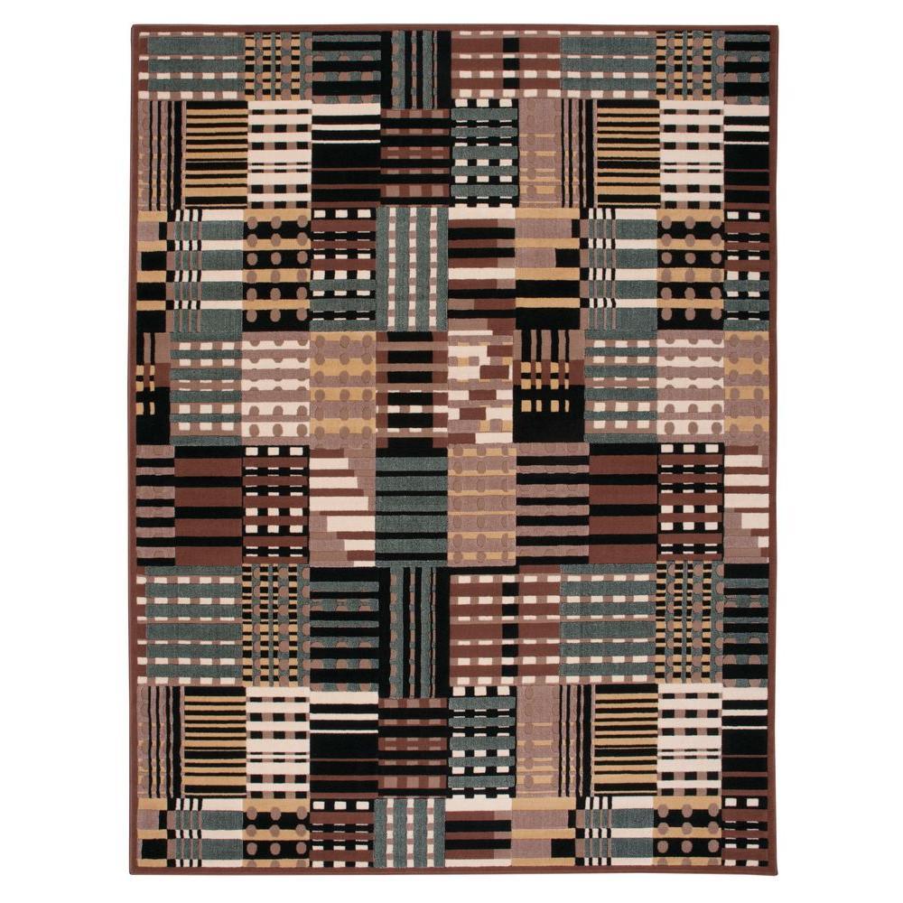 Nourison Overstock Modesto Stripes Grey 5 ft. 3 in. x 7 ft. 3 in. Area Rug