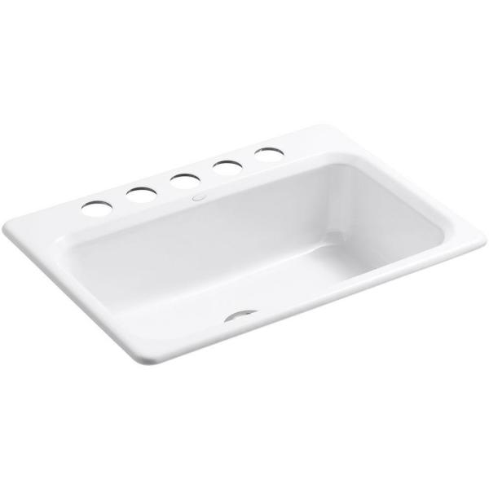 Bakersfield Undermount Cast Iron 31 in. 5-Hole Single Bowl Kitchen Sink in White