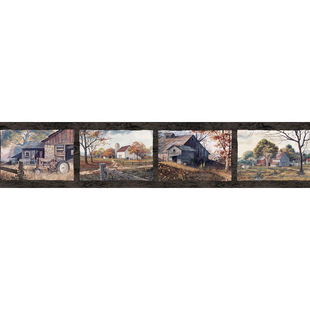 Henley Blue Country Days Portrait Wallpaper Border Sample