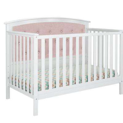 Bentley White Pink Linen Tufted Upholstered Convertible Crib