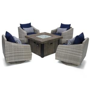 RST Brands Cannes 5-Piece Motion Wicker Patio Fire Pit Conversation Set with... by RST Brands