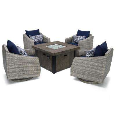 Cannes 5-Piece Motion Wicker Patio Fire Pit Conversation Set with Navy Blue Sunbrella Cushions