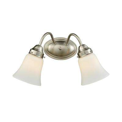 Califon 2-Light Brushed Nickel With White Glass Bath Light