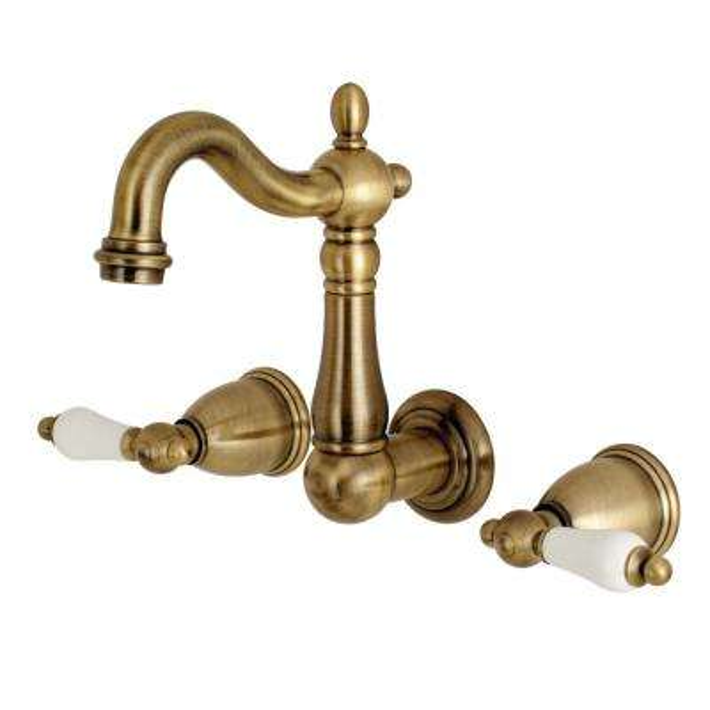 Heritage 2-Handle Wall Mount Bathroom Faucet in Vintage Brass