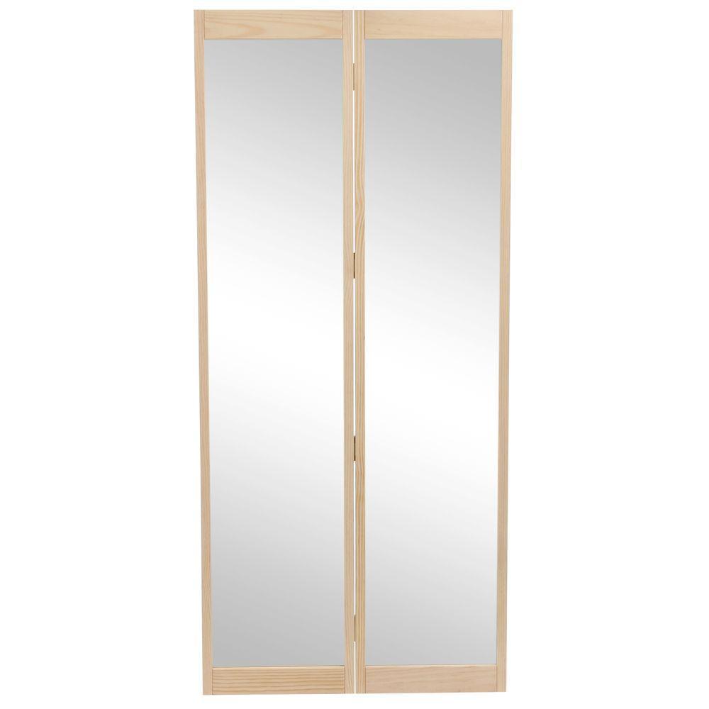 36 in. x 80 in. Traditional Mirror Wood Full-Lite Universal/Reversible Interior Wood Bi-Fold Door