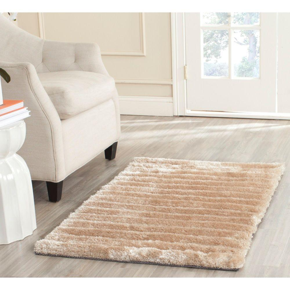 3D Shag Champagne 2 ft. 6 in. x 4 ft. Area