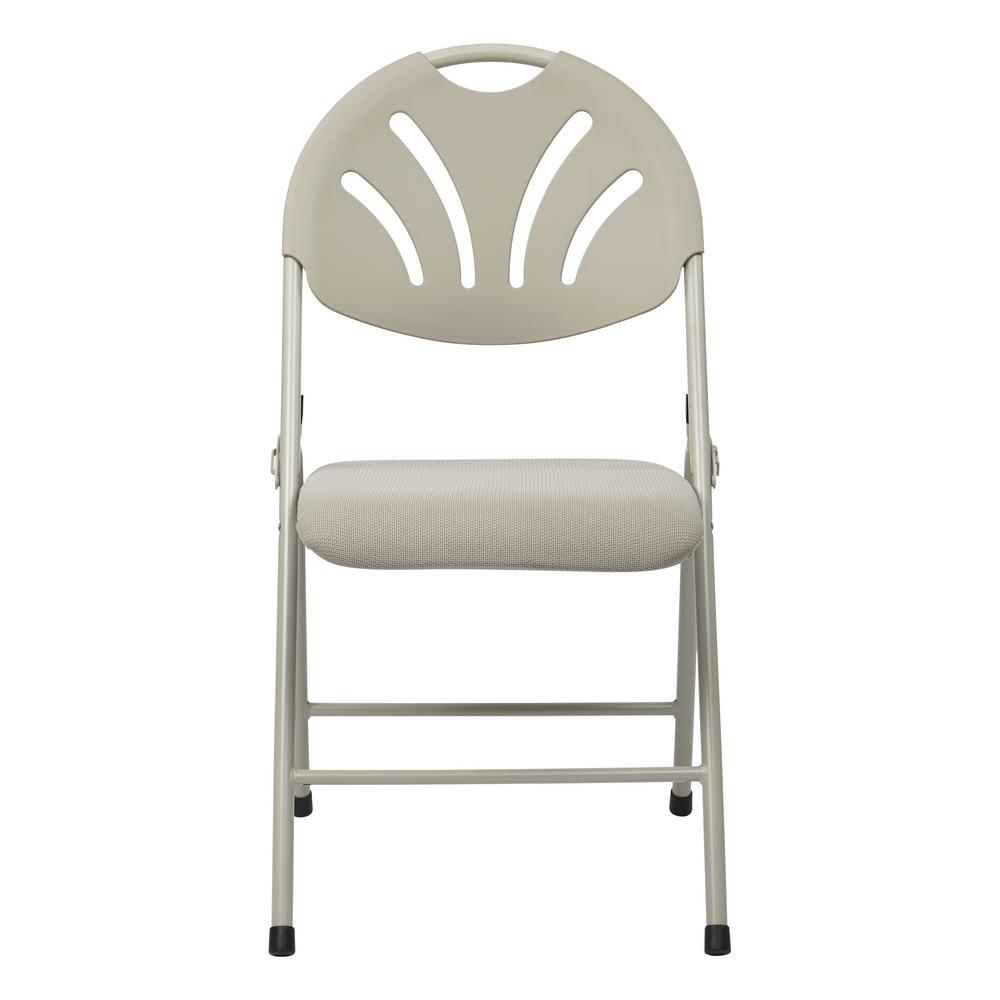 Fantastic Osp Home Furnishings Beige Ventilated Fan And Back With Mesh Seat Stackable Folding Chair Set Of 4 Ibusinesslaw Wood Chair Design Ideas Ibusinesslaworg