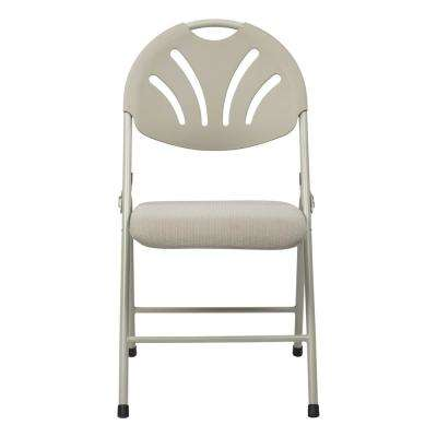 Beige Plastic Folding Chair Ventilated Fan and Back and Beige Mesh Seat (4-Pack)