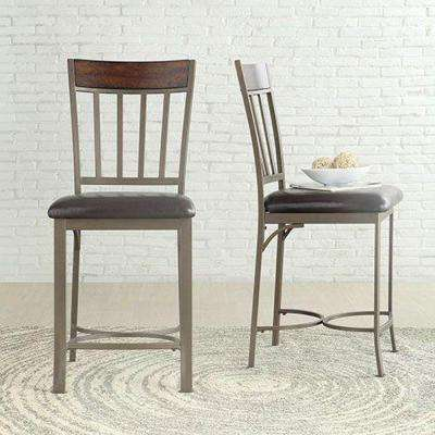 Evans 24 in. Bronzed Pewter Cushioned Bar Stool (Set of 2)