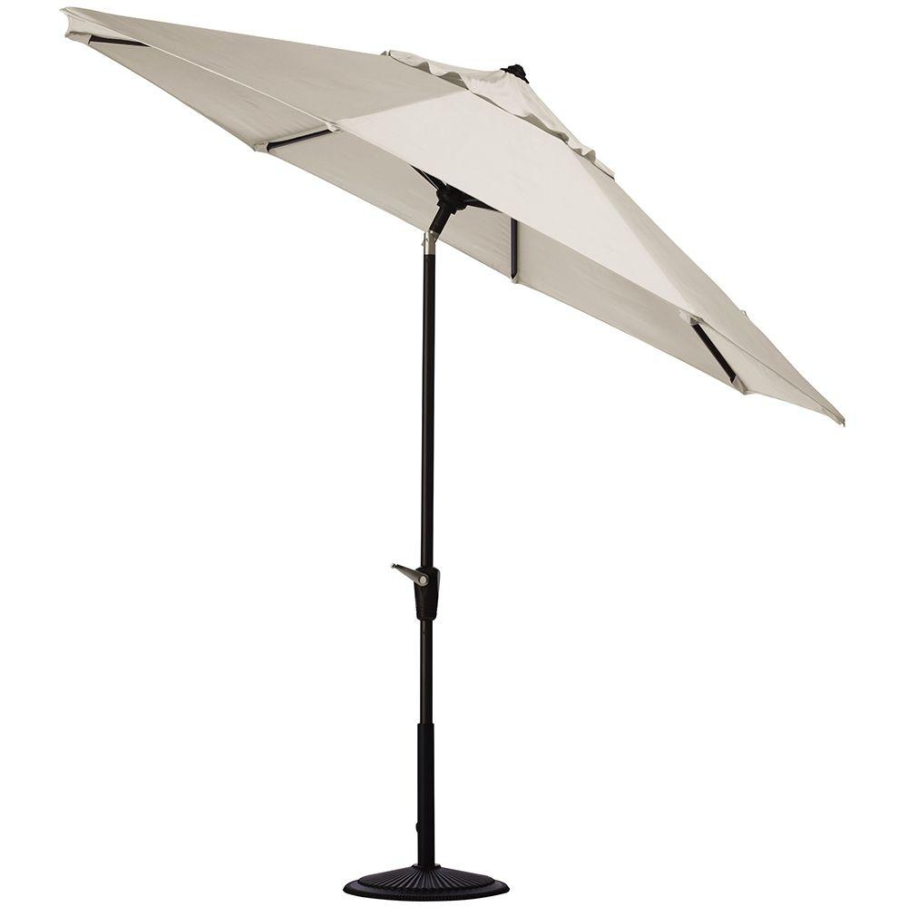 Home Decorators Collection 6 ft. Auto-Tilt Patio Umbrella in Canvas Sunbrella with Black Frame