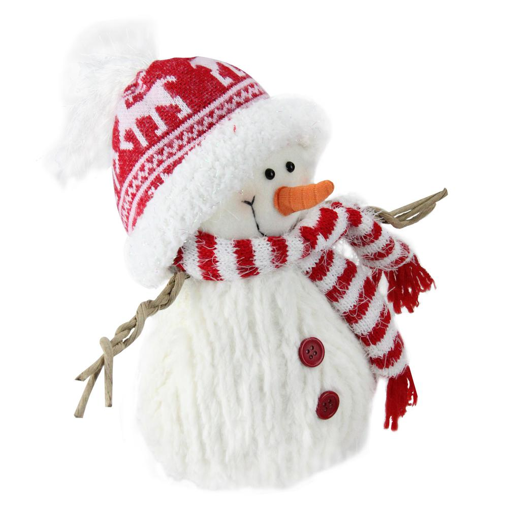 Northlight 9 In Red And White Fuzzy Smiling Snowman Christmas