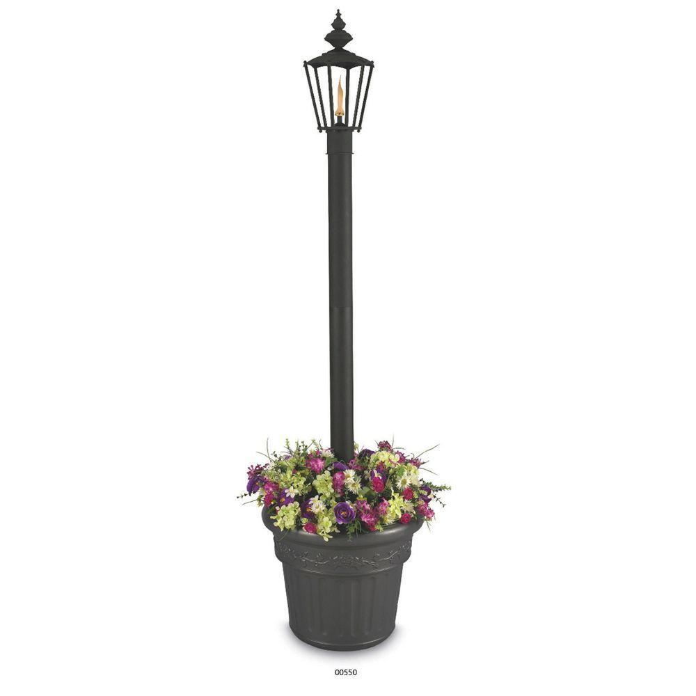 Islander Citronella Flame Single Outdoor Post Lantern Black with Planter