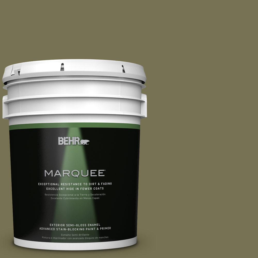 5-gal. #S350-6 Truly Olive Semi-Gloss Enamel Exterior Paint