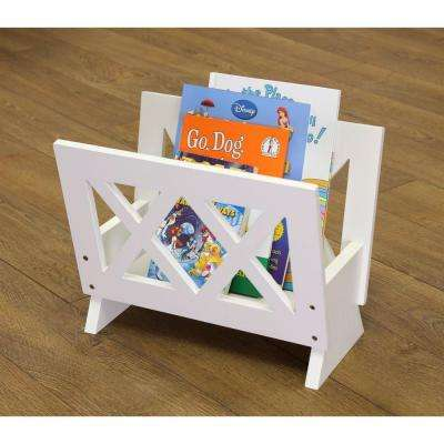 Freestanding Magazine Rack in White
