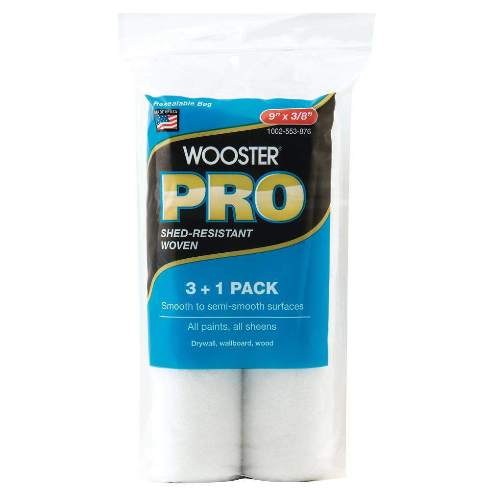 Wooster Pro 9 in. x 3/8 in. High-Density Pro Woven Roller Cover (4-Pack)