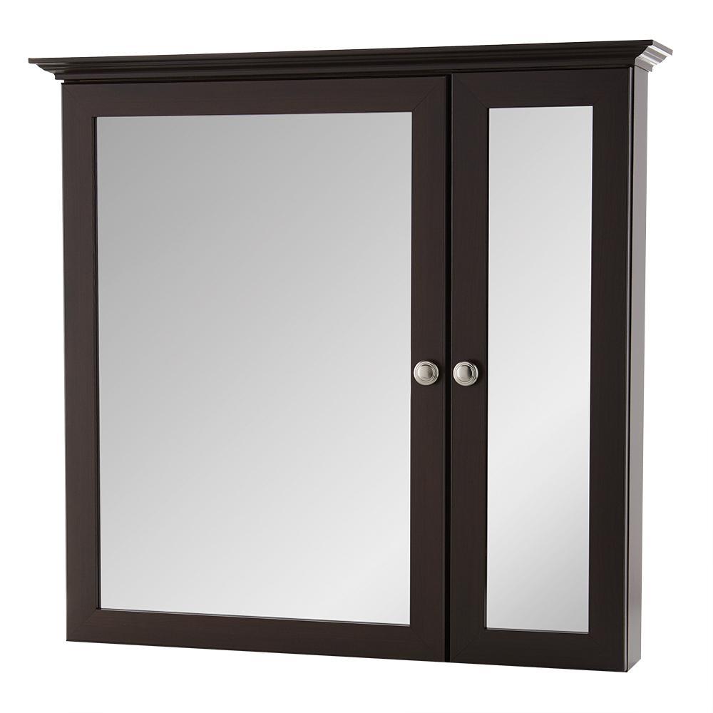 31 in. W x 29 in. H Fog Free Framed Surface-Mount Bi-View Bathroom Medicine Cabinet in Java