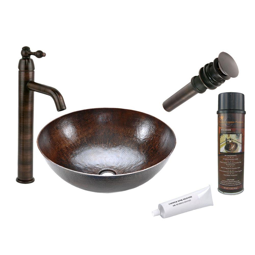 All-in-One Large Round Vessel Hammered Copper Bathroom Sink in Oil Rubbed