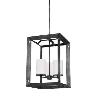Chatauqua 14 in. W. 3-Light Weathered Gray and Distressed Oak Hall-Foyer Pendant with Distressed Gold Metal Accents