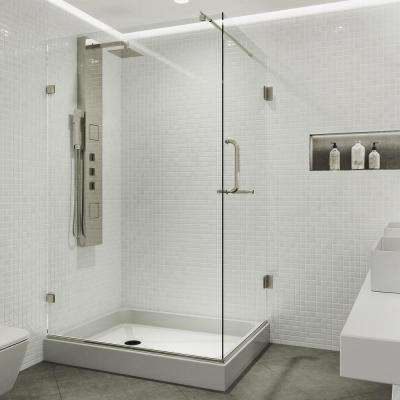 Pacifica 48.125 in. x 79.25 in. Frameless Hinged Shower Enclosure in Brushed Nickel with Clear Glass and Left Base