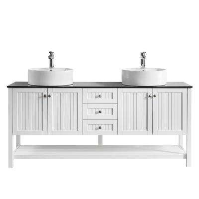 Modena 72 in. W x 20 in. D Vanity in White with Glass Vanity Top in Black with White Basin