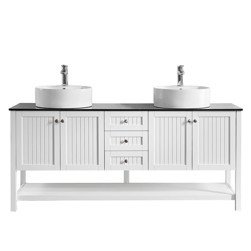 Modena 72 in. W x 20 in. D Vanity in White with Glass Vanity Top in Black with White Basin
