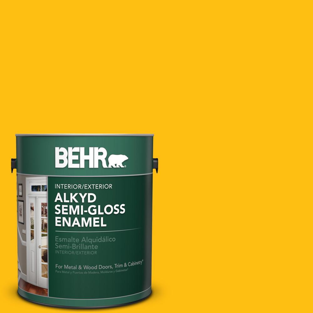 1 gal. #P290-7 Laser Lemon Semi-Gloss Enamel Alkyd Interior/Exterior Paint