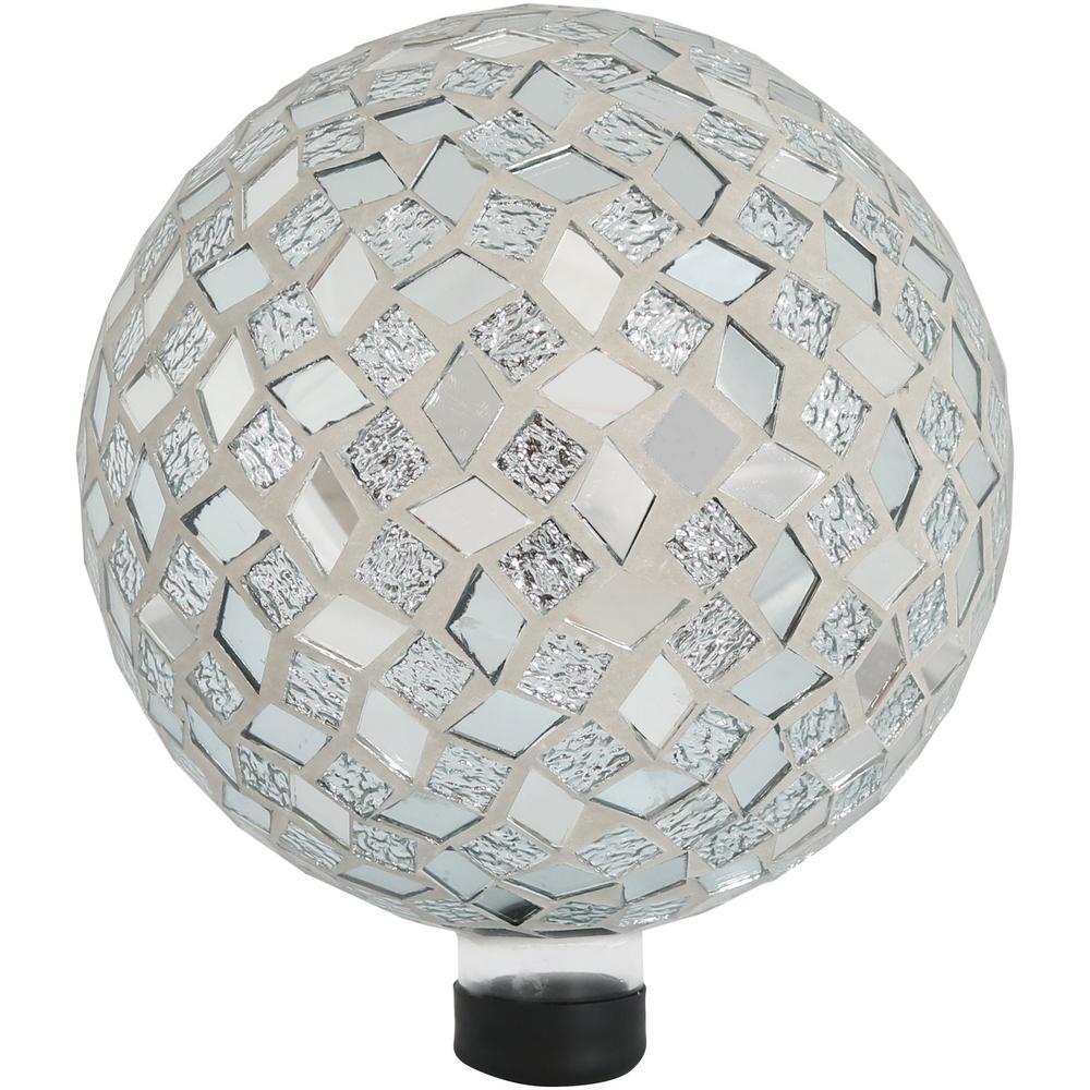 10 in. Mirrored Diamond Mosaic Outdoor Garden Gazing Globe Ball
