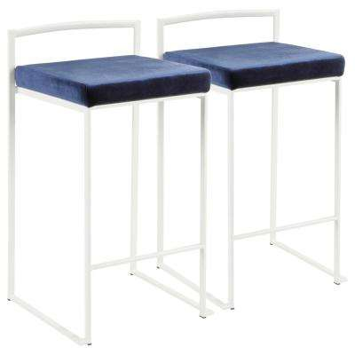 Fuji 26 in. White Stackable Counter Stool with Blue Velvet Cushion (Set of 2)