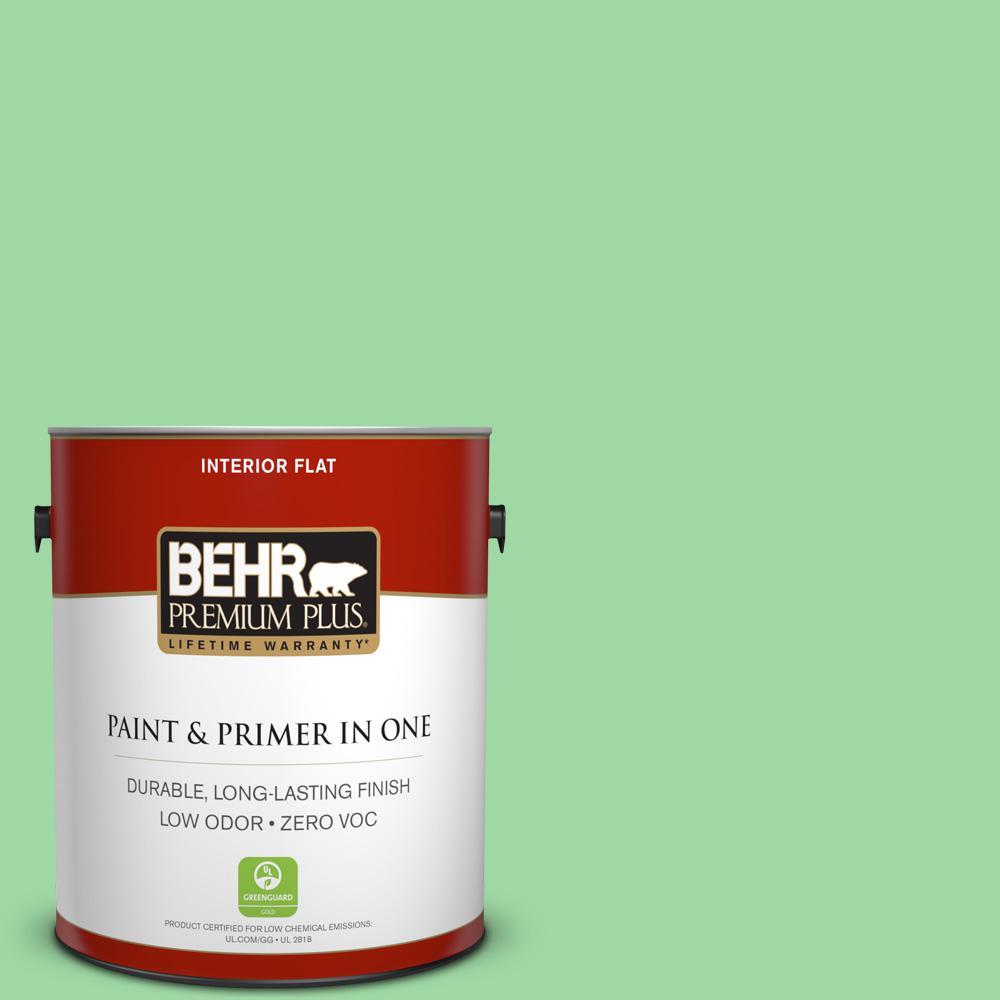 BEHR Premium Plus 1-gal. #450B-4 Green Trance Zero VOC Flat Interior Paint
