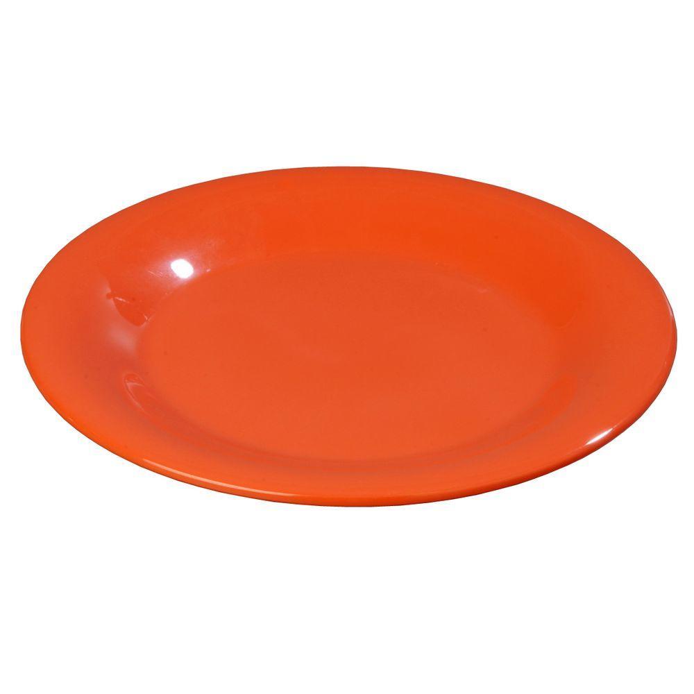 12 in. Diameter Melamine Wide Rim Dinner Plate in Sunset Orange