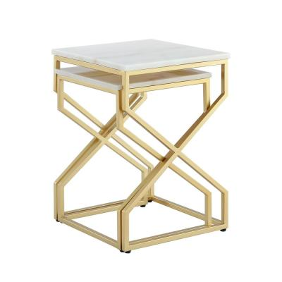 Mikio Gold End Table with Natural Marble Top