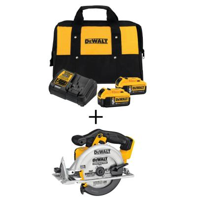 20-Volt MAX Lithium-Ion Cordless 6-1/2 in. Circular Saw with Premium Battery Pack 5.0 Ah (2-Pack), Charger and Kit Bag