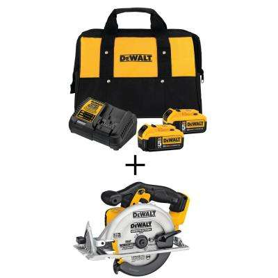 20-Volt 6-1/2 in. MAX Lithium-Ion Cordless Circular Saw with Premium Battery Pack 5.0 Ah (2-Pack), Charger and Kit Bag