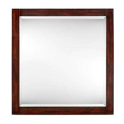 Lexi 32 in. x 30 in. Framed Mirror in Dark Walnut