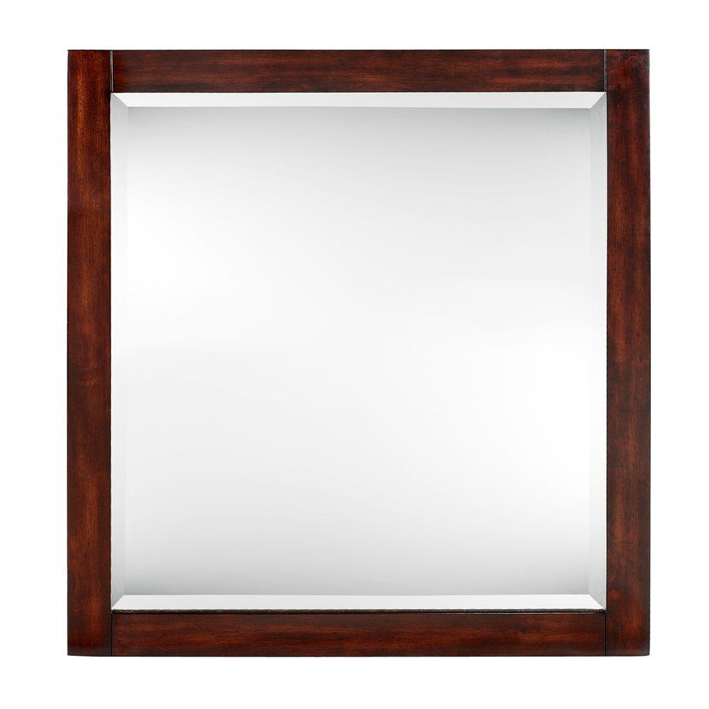 Home Decorators Collection Lexi 32 in. x 30 in. Framed Mirror in Dark Walnut