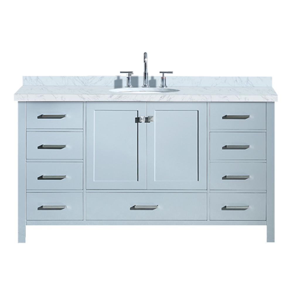 Ariel Cambridge 61 in. Bath Vanity in Grey with Marble Vanity Top in Carrara White with White Basin