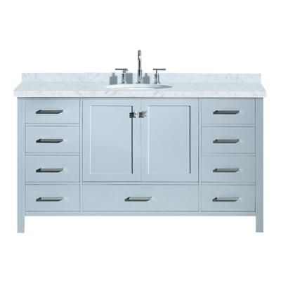 Cambridge 61 in. Bath Vanity in Grey with Marble Vanity Top in Carrara White with White Basin