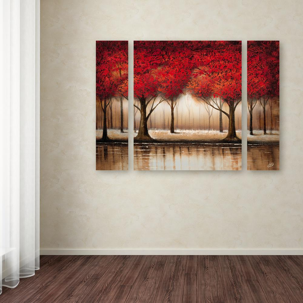 trademark fine art 24 in x 32 in parade of red trees by rio