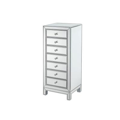 Philip 18 in. 7-Drawers Antique Silver Paint Finish Lingerie Chest with Rectangle Mirror Top