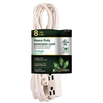 8 ft. 16/3 SPT-2, 3 Outlet Extension Cord - White