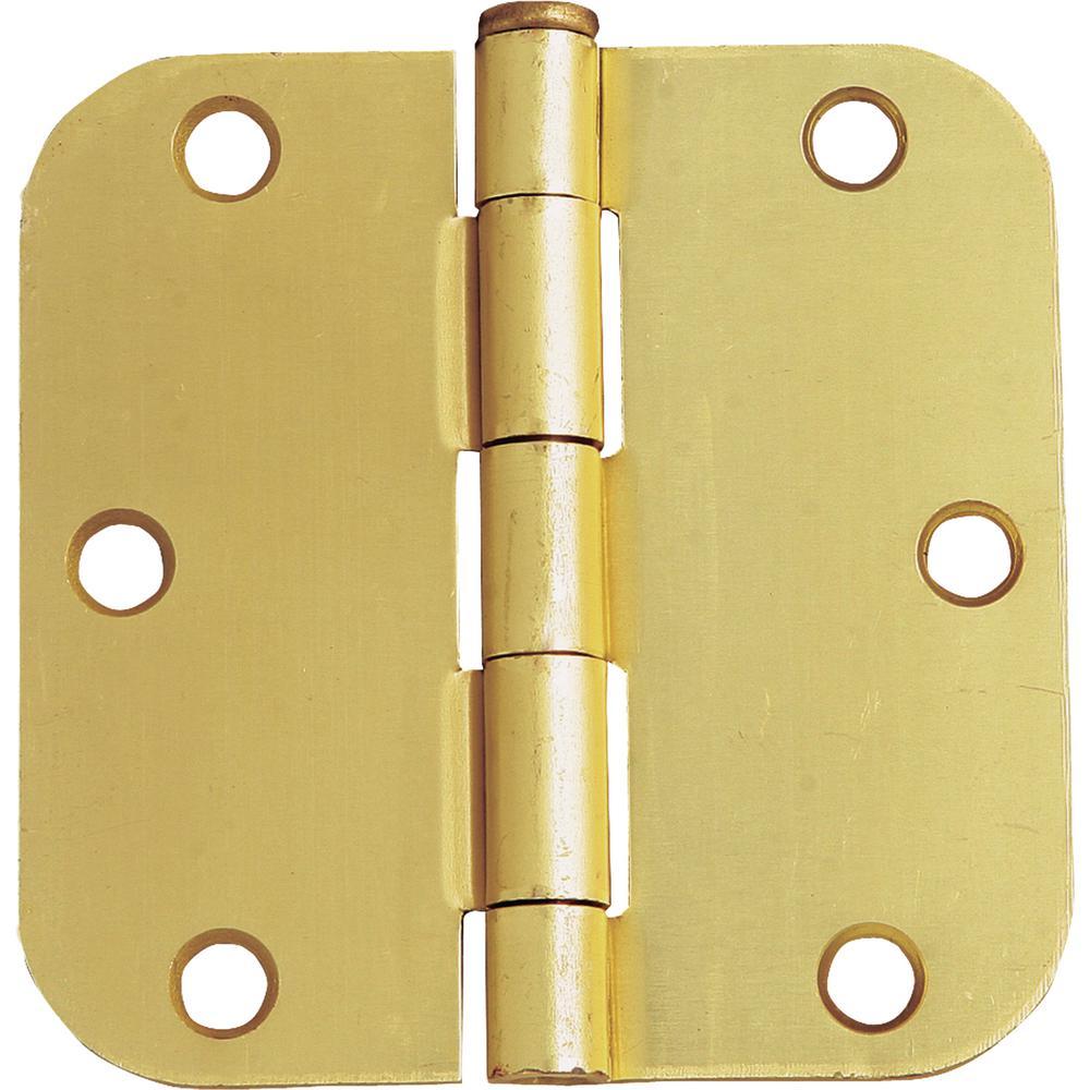 Design House 3-1/2 in. x 5/8 in. Radius Satin Brass Door Hinge Value Pack (10 per Pack)