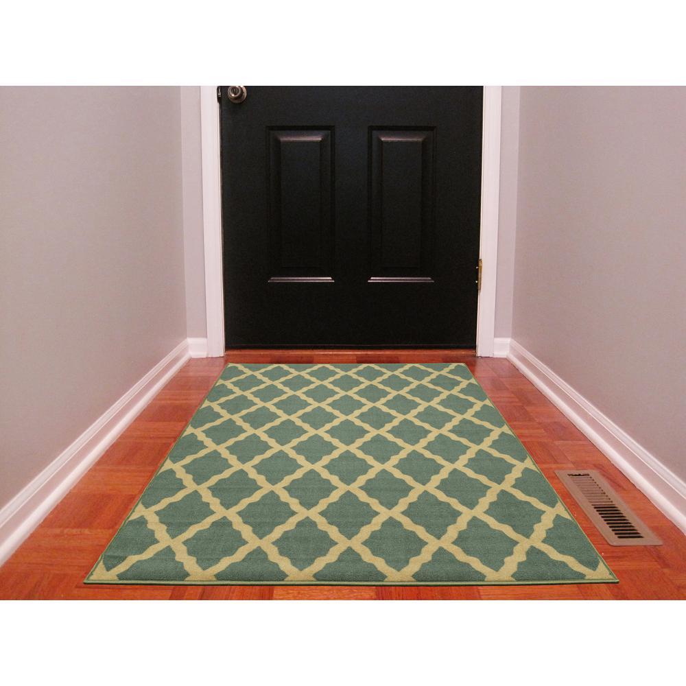 ottomanson ottohome collection contemporary moroccan trellis design sage green 3 ft 3 in x 5. Black Bedroom Furniture Sets. Home Design Ideas
