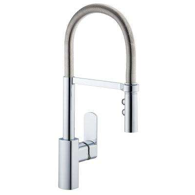 1250 Series Spring Neck Single-Handle Pull-Down Sprayer Kitchen Faucet in Chrome